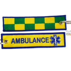 Sleutelhanger geborduurd Ambulance Battenburg (14cm x 3cm)