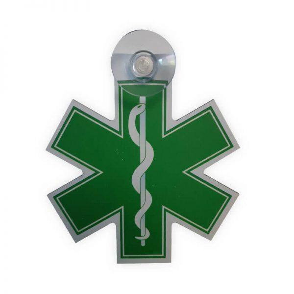 Autobordje Star Of Life contour GROEN Verpleegkundige (10cm)