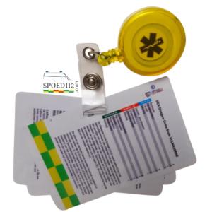 Set van 2 'interventie' cards + badgereel GEEL (3e gratis vanwege kleine typefout)