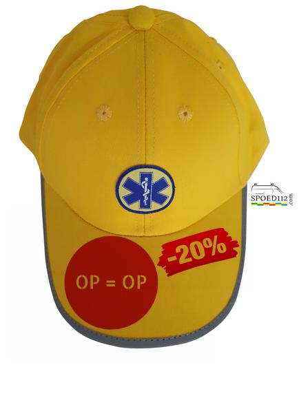 Baseball cap geel met reflecterende afwerking en Star of Life logo