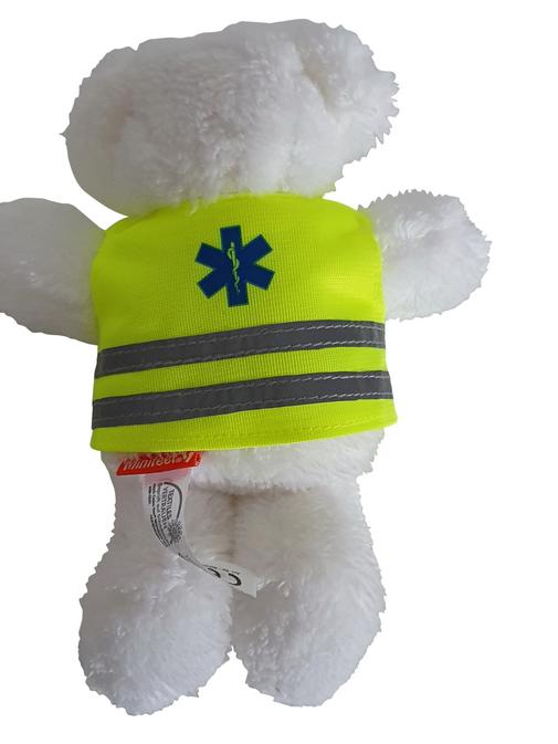 Ambubeer' WIT met ambulancevest Star of Life met enamel-pin AMBUBEER