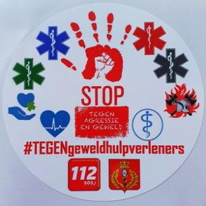 Sticker 8cm #TEGENgeweldhulpverleners