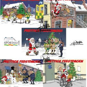 SET Kerstkaarten hulp- en ordediensten getekend 2020 (incl. enveloppen)