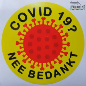 COVID 19? NEEN BEDANKT sticker rond 10cm