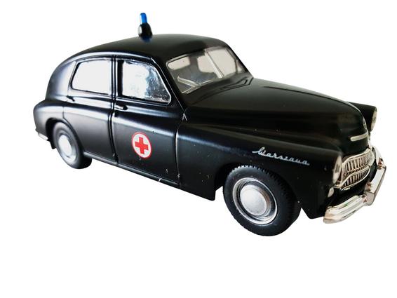 Schaalmodel 1:43 Warsawa M20 'ambulance' zwart met rood kruis