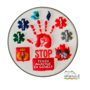 3D PVC patch 'STOP AGRESSIE EN GEWELD'