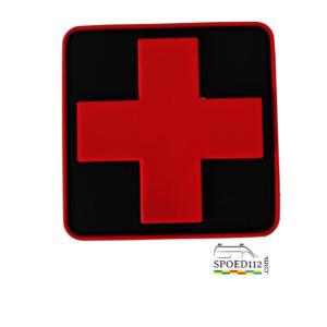 PVC Patch Rood kruis op zwarte ondergrond