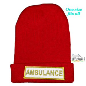 Muts (beanie) AMBULANCE met reflecterende patch ROOD