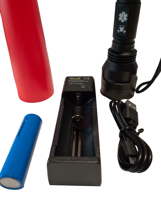 LED flashlicht met verkeer regelaar + oplaadbare batterij + oplader (USB)