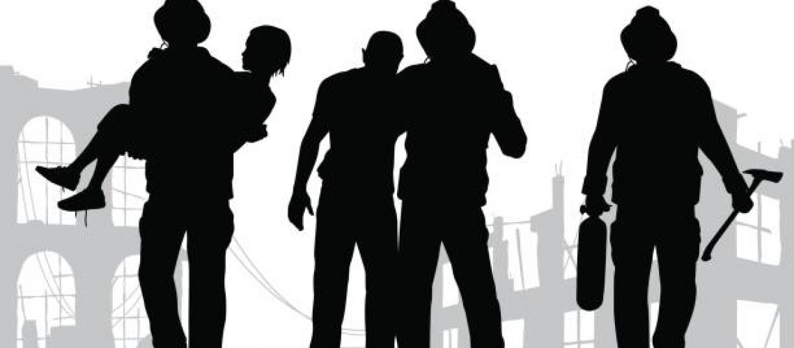Vector illustration of firefighter silhouettes rescuing people from a fire disaster